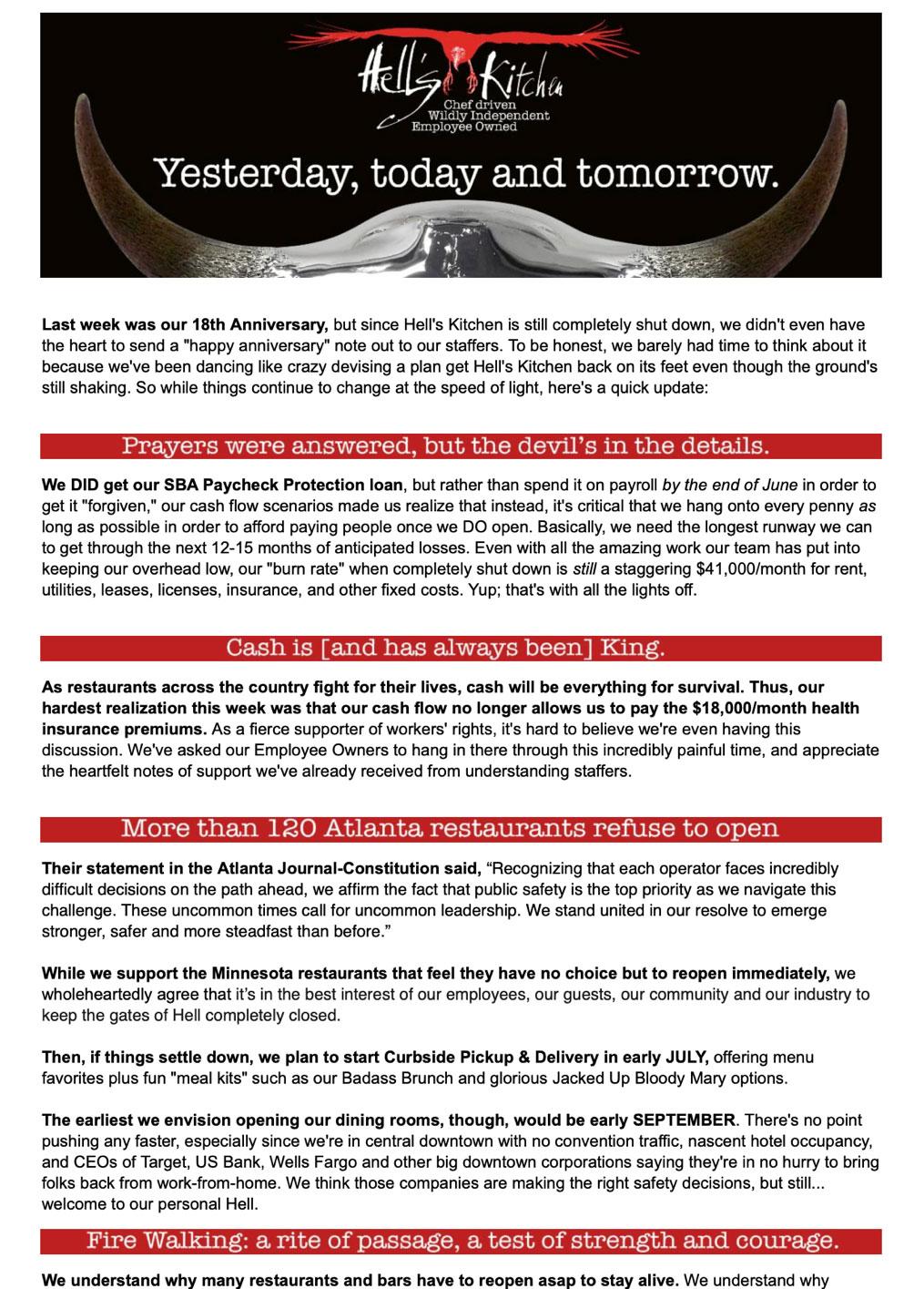 Hells Kitchen Newsletter
